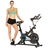 ANCHEER Spin Exercise bike for Home Training, Quiet & Smooth, Stationary Indoor Cycling Spinning Bike for Cardio Workout with Belt Driven Flywheel, Adjustable Resistance & Seat, Wheels