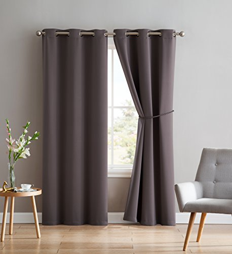 Nicole - 2 Premium Grommet Blackout Window Curtain Panels with Tiebacks - Solid Thermal Insulated Draperies - Total Size 76 Inch Wide (38 Each Panel) - 96 Inch Long (2 Panels 38 x 96, Charcoal)