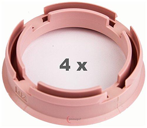4 x Zentrierringe 72.6 mm auf 57.1 mm rosa/pink