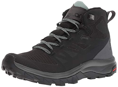 Salomon Women's OUTline Mid GTX W Hiking Boots, Black/Magnet/Green Milieu, 7.5