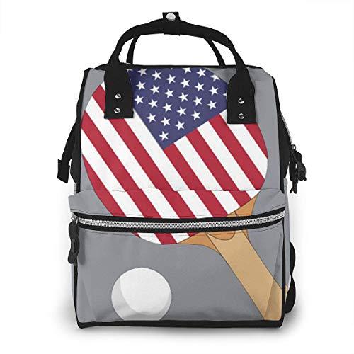 USA Vlag Tafel Tennis Grote Capaciteit Multifunctionele Mummy Rugzak Grote Capaciteit Landscap Licht Baby Luier Tassen Eén maat Zwart