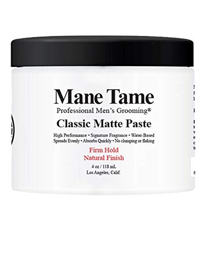 Mane Tame Classic Matte Paste 4oz - Natural Finish, Firm Hold - Made in USA, Water-Based, Spreads Evenly, Absorbs Quickly, Washes out Easily - BARBER RECOMMENDED - Best when used on dry hair