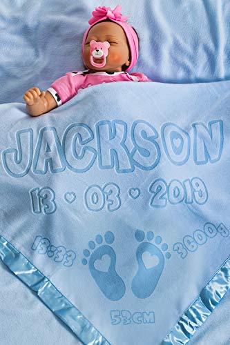 Personalisierte Babydecke mit Namen mit Geburtsdaten, Geschenk für Baby oder Eltern, Größe 88x88CM (Füße/Blau)
