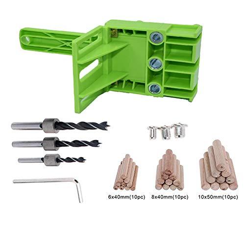 wjieyou 38-teiliges Holzbearbeitungs-Dübelschablonen-Set für 6/8/10 mm Bohrer, Holzbohrer, gerades Loch, Dübeln mit Metallhülse grün