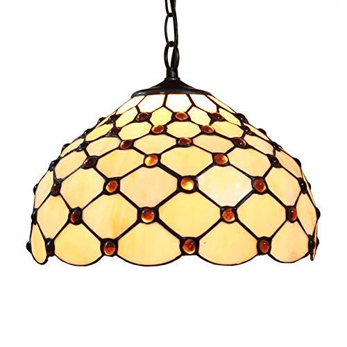 DALUXE Antiguo Europeo Tiffany Colgante luz Dormitorio araña 12 Pulgadas de Cristal Manchado Resina Colgando lámparas Sala de Estar Sala de Estar Sala de Estar Oficina Escritorio Interior