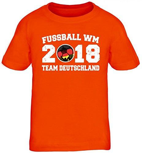 Germany Fußball WM Fanfest Gruppen Kinder T-Shirt Rundhals Mädchen Jungen Team Deutschland, Größe: 152/164,orange