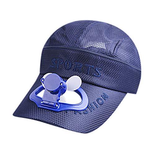 jiumoji-Shoes Unisex Camping USB Charging Mini Fan Cap Hiking Peaked Cotton Cap Fan Baseball Hat Cooling for Gifts (-Blue, 52-58CM)
