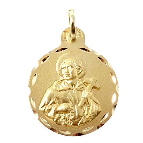 18k Goldmedaille San Alvaro 21mm. hintere Zaun geschnitzt Runde glatt Details - Anpassbare - AUFNAHME IN PREIS ENTHALTEN