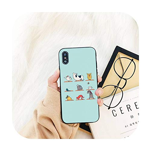 lindo Yoga animales teléfono caso para iPhone 11 8 7 6 S Plus X XS MAX 5 5S se 2020 11 12pro max iphone xr caso-a5-para iPhone6plus