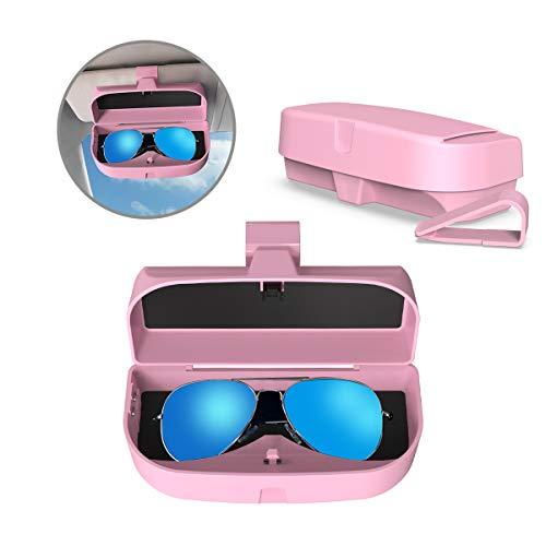 MoKo Caja de Gafas para Coche Universal, Estuche para Gafas de Sol con Clip y Bolsillo de Inserción de Tarjetas para Visera de Auto Soporte de Gafas de Automóvil - Rosa