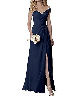 Yilis Elegant V-Neck Chiffon Slit Long Bridesmaid Dress Wedding Evening Dress Navy Blue US6