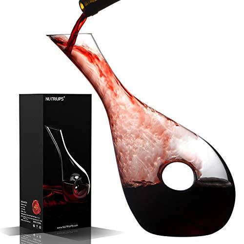 NUTRIUPS Decantador de Vino Jarra de Vino Crystalex Soplada a Mano sin Plomo con Tapón de Corcho Aireador de Vino Tinto Jarra para Respirar Vino & Cepillo de Limpieza para Amantes del Vino