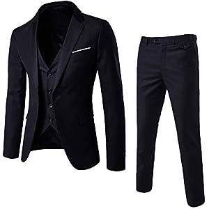 riou Vestido Elegante Elegante de la Oficina del Smoking de un botón de la Chaqueta del Banquete de Boda de los Hombres, Pantalones de la Chaqueta del Chaleco de 7 Pedazos