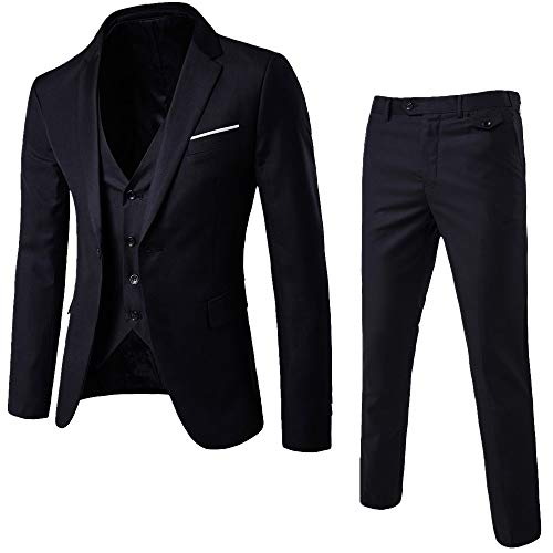 Realdo Mens 3 Pieces Suit, Mens One Button Blazer Set Business Wedding Party Jacket Vest & Pants Black
