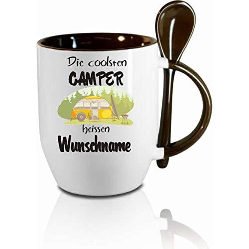 Crealuxe Tasse m. Löffel Die coolsten Camper heißen Wunschname Löffeltasse, Kaffeetasse m. Motiv,Bürotasse, Bedruckte Tasse mit Sprüchen oder Bildern -