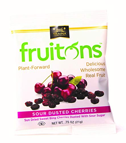 Traina Home Grown Fruitons Sun Dried Cherries Dusted With Sour Sugar  NonGMO Gluten Free 75 oz bags Pack of 18