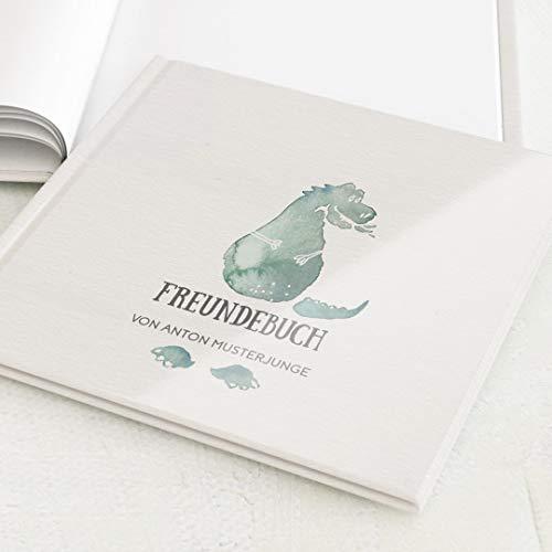 sendmoments Buch für Freunde, Jungs, Freundebuch, mit Namen oder Lieblingsspruch, hochwertige Blanko-Innenseiten, 32 Seiten oder mehr, Harcover-Buch quadratisch - Dino