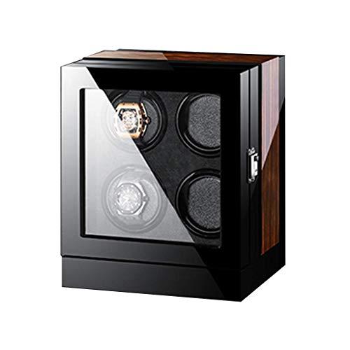 XIUWOUG Expositor de relojes automático, pantalla táctil LCD, acabado en madera, iluminación incorporada, funciona con bobinado del motor extremadamente silencioso (tamaño: 4+0)