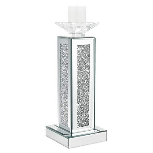 Meetart Silber gebrochen Diamant Dekoration Spiegel Glas Kristall helles Wachs hohe Säule geformt Kerzenhalter, moderne Mode elegante High-End romantische Wohnaccessoires. Pylon veredelt (Keine Kerze)