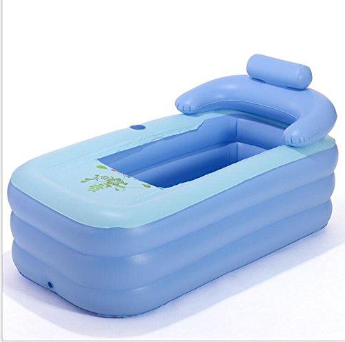 lyy Baignoire gonflable adulte de PVC bleu bébé piscine pliable éponge inférieure baignoire anti-dérapante ( Couleur : B )