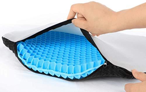 Cuscino per seduta in gel, traspirante, cuscino antidecubito, allevia la pressione sull'ortopedico con rivestimento antiscivolo per auto, ufficio, casa, sedia a rotelle, dimensioni: 40 x 36 x 4 cm