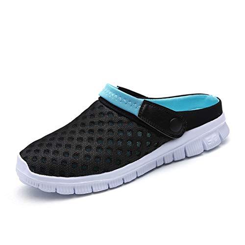 Sandalias de Playa Hombre Mujer,Zuecos de Sanitarios Zapatillas Ligeros Respirable Zapatos Verano,Negro Azul,35 EU=36 CN