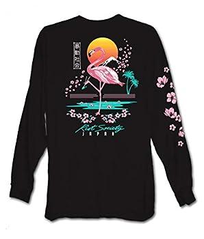 Riot Society Flamingo Blossom Mens Long Sleeve T-Shirt - Black Small