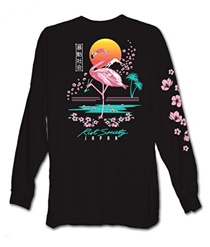 Riot Society Flamingo Blossom Mens Long Sleeve T-Shirt - Black, Medium