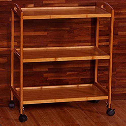 Lwieui Carros de Almacenamiento Cocina móvil Cesta de Madera sólida de los hogares de la Compra de múltiples Funciones de Compras for Cocina Baño Multifunción del balanceo de la Compra