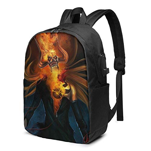 Lsjuee Cartoon Anime Bleach Laptop Backpack- with USB Charging Port/Stylish Casual Waterproof Backpacks Fits Most 17/15.6 Inch Laptops and Tablets/for Work Travel School