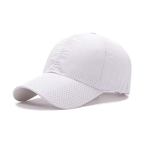 ZEARE schnell trocknend wasserdicht atmungsaktiv Hut Polyester Baumwolle Sonnenhut leichte Baseballmütze Sport Cap Unisex (weiß Mesh)