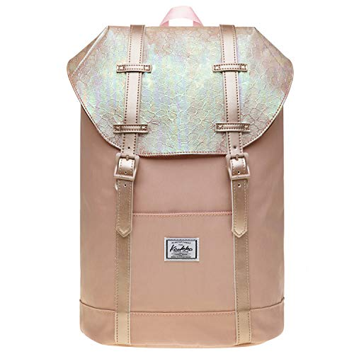 Lightweight Outdoor Backpack, KAUKKO Travel Casual Rucksack Laptop Daypack for 15' (11-Fairy rose tan)