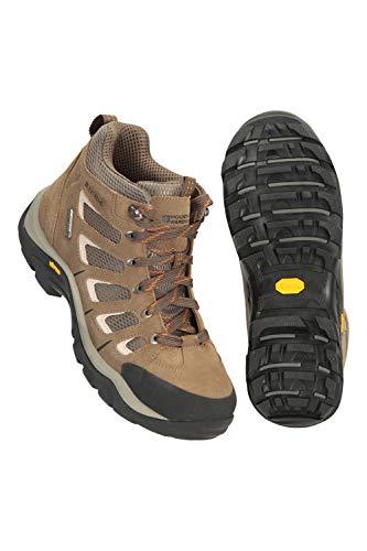 Mountain Warehouse Botas de Senderismo Vibram, Impermeables - Calzado para Lluvia, Resistente, con Empeine de Ante y Malla - Calzado de Invierno para Camping y Viajes Marrón 45