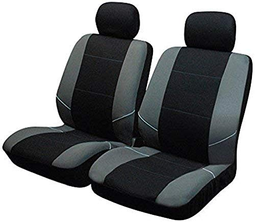 Sakura SS3633 - Juego de fundas para asientos delanteros de coche, color negro y gris, 2 Piezas