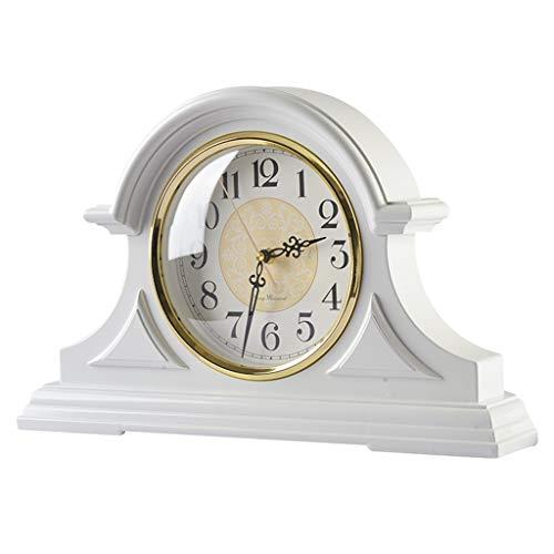 ABS Tischuhr Retro-Uhr mit Glasspiegel-Desktop-Dekoration 47X8X30cm -Max Home (Color : White)