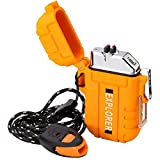 USB Rechargeable Dual Arc Plasma Lighter - Windproof and Waterproof Flameless Electric Lighter with Emergency Whistle for Outdoor Adventures, Survival, Tactical and Camping (Orange)