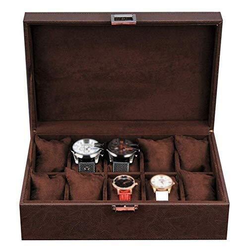 WXDP Enrollador de Reloj automático,Caja de Caja de exhibición de joyería de Cuero 10 Bandeja de colección de Pulsera con Hebilla de Metal de Almacenamiento extraíble
