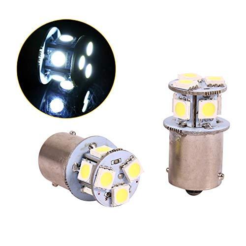 2 piezas Blanco 1156 LED Bombilla de freno, Keenso BA15S R5W 5050 8SMD LED Luces de coche Bombilla LED Señal de respaldo Luz intermitente Luz trasera Luces de repuesto 12V