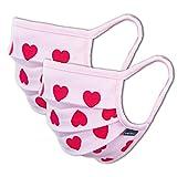Facetex 2er-Pack Mundschutz Maske Kinder Junge & Mädchen waschbar, rosa pink Herzen | aus 100% Baumwolle Oeko-TEX 100 Standard Earloop-Design | wiederverwendbarer Mund und Nasenschutz | Ab 10