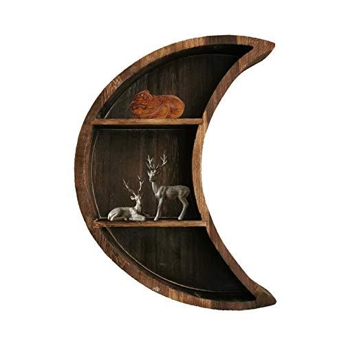 DADEA Estante luna, estante de madera luna, estante montado en la pared, montaje en fases celestes, estantes de arte para decoración única de la habitación
