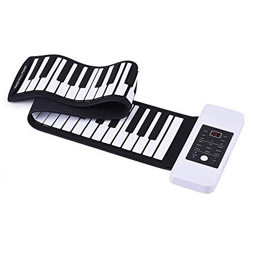 DJYD Tragbare Silikon 61 Tasten Hand Roll Up Klavier, Elektronische USB-Tastatur, mit eingebauten Li-Ionen-Lautsprechern, A FDWFN (Color : A)