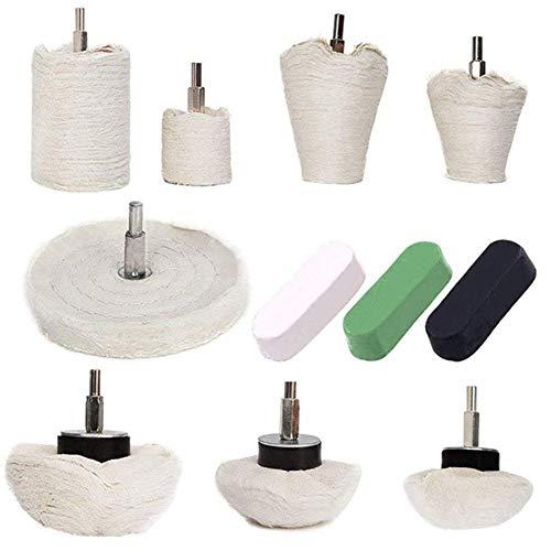 WFFF Polierrad, Polierradpolster-Moppset, konisches/Säulen- / Pilz- / Rad-Polierwerkzeug für Metall, Schmuck, Holz, Kunststoff, Keramik, Glas