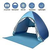 wayrank tenda da spiaggia con sipario cerniera,pop up tenda upf 50+ per spiaggia, picnic, giardino, campeggio, pesca