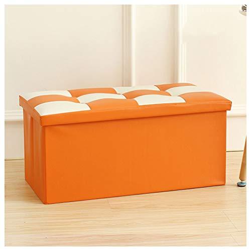 Cómodo Reposapiés Otomano Cofre de almacenamiento plegable Asiento portátil Picnic Asiento Sofá Taburete Ahorro de espacio Carga máxima 150 kg Silla YIGEYI ( Color : Orange , Size : 76*38*38cm# 110L )