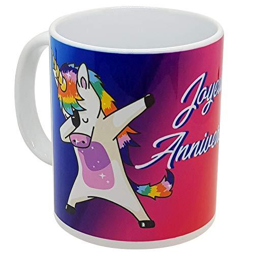 Kalféa - Taza con diseño de unicornio y fondo de arco cielo, impresión panorámica, idea regalo para niños