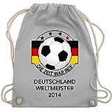 Shirtracer Fußball - Deutschland Weltmeister 2014 - Die Zeit war reif - Unisize - Hellgrau - patriotisch - WM110 - Turnbeutel und Stoffbeutel aus Baumwolle
