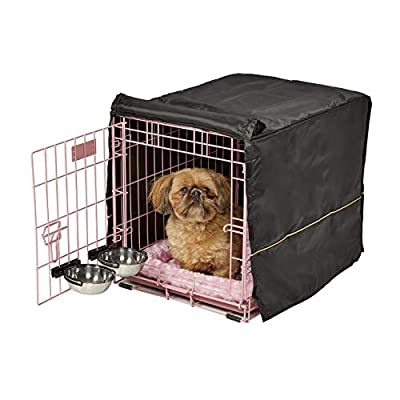Pink Dog Crate Starter Kit | 24-Inch Dog Crate Kit Ideal for Small Dogs Weighing 13-25 Pounds | Includes 1 - Door Dog Crate, Pet Bed, 2 Dog Bowls & Crate Cover | 1-Year Midwest Quality Guarantee