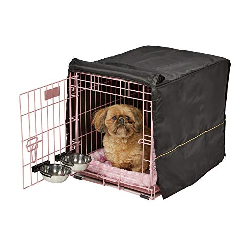 iCrate Dog Crate Starter Kit | 24-Inch Dog Crate Kit Ideal for Small Dog Breeds (weighing 13 - 25 Pounds) || Includes Dog Crate, Pet Bed, 2 Dog Bowls & Dog Crate Cover (Pink)