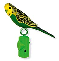 Life size singing budgie with motion sensor. Toy sings when approached or played with. Sits securely on perch.