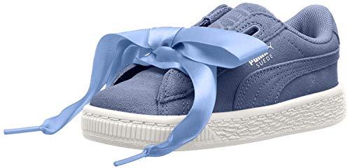 PUMA - Sneaker da bambina in camoscio con cuore, (Lavendar Lustre Puma Bianco), 22 EU